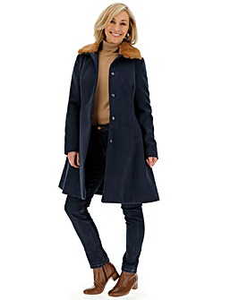 Navy Fit and Flare Coat with Detachable Faux Fur Collar