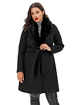 Black Belted Coat with Detachable Faux Fur Collar