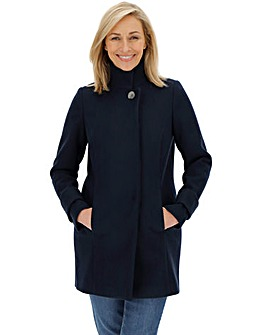 Navy Funnel Neck Coat