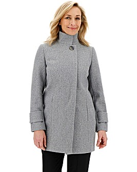 Grey Marl Funnel Neck Coat with Button Detail