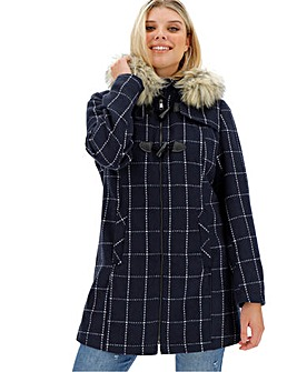 Navy Check Duffle Coat with Faux Fur Hood