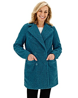 Teal Teddy Faux Fur Coat
