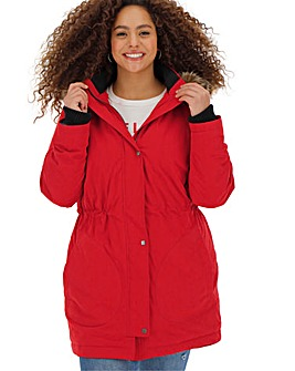 Red Luxe Faux Fur Lined Parka with Ribbed Sleeve Detail