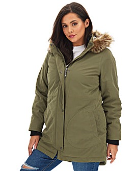 Khaki Luxe Faux Fur Lined Parka with Ribbed Cuff Detail
