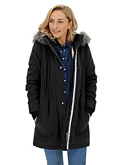 Black Luxe Faux Fur Lined Parka with Ribbed Cuff Detail