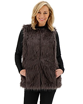 Charcoal Faux Fur Gilet