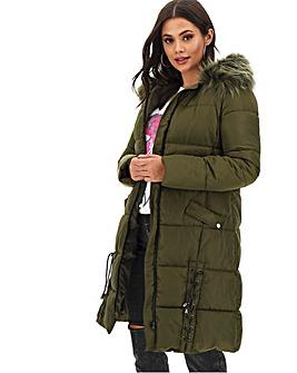 Khaki Lace Up Longline Puffer Coat