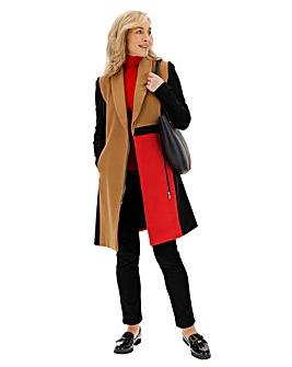 Colour Block Coat with Ponte Sleeve