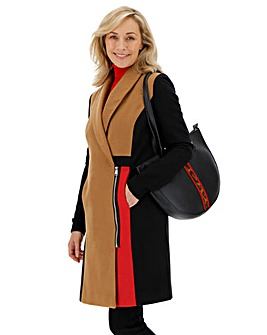 Colour Block Coat with Ponte Sleeve