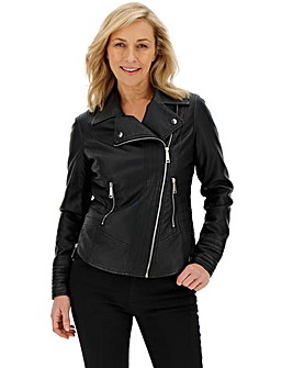 Shaping Faux Leather Biker Jacket