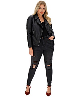 Petite Figure Shaping Faux Leather Biker Jacket