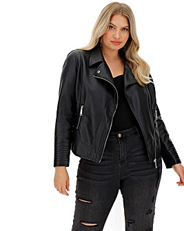 Figure Shaping Faux Leather Biker Jacket with Stretch Sleeve Panels