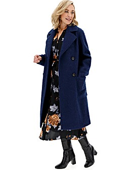 Navy Double Breasted Longline Teddy Coat