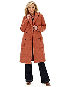 Rust Double Breasted Longline Teddy Coat