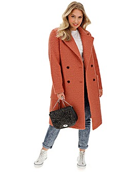 Rust Double Breasted Longline Teddy Wool Look Coat