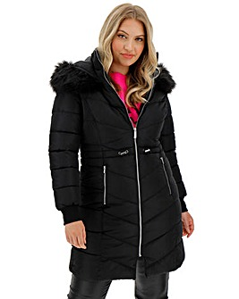 Black Double Collar Longline Puffer Coat