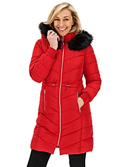 Red Double Collar Longline Puffer Coat
