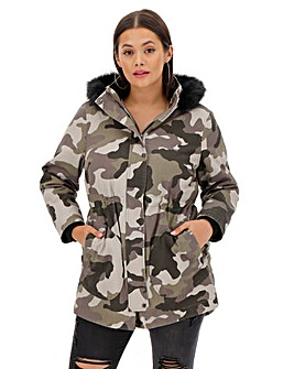 Camo Print Luxe Faux Fur Lined Parka