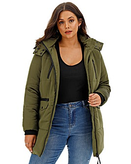 Satin Luxe Longline Utility Puffer Coat