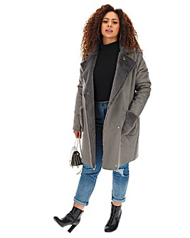 Grey Longline Suedette Coat