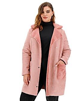 Dusky Pink Longline Suedette Coat