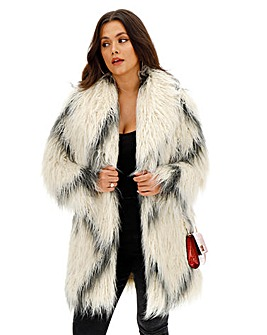 Cream Longline Shaggy Faux Fur Coat