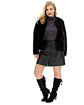Black Collarless Faux Fur Jacket