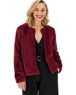 Wine Collarless Faux Fur Jacket