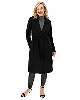 Black Crepe Belted Duster Jacket