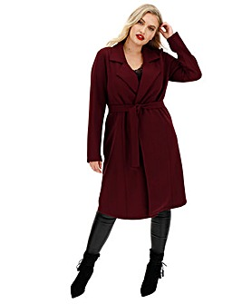 Wine Crepe Belted Duster Jacket