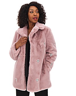 Dusky Pink Jewel Collared Faux Fur Coat