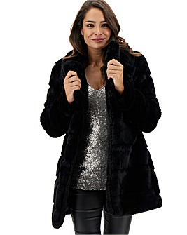 Black Stepped Faux Fur Mid Length Coat
