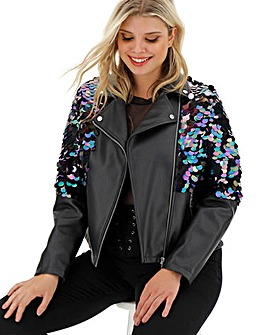 Sequin PU Biker Jacket