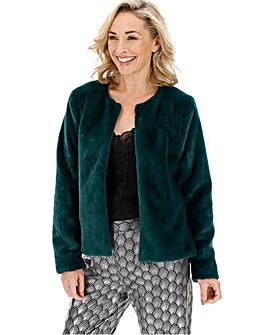 Forest Green Collarless Faux Fur Jacket