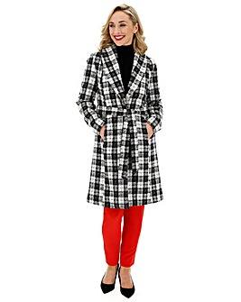Black & White Check Print Belted Coat