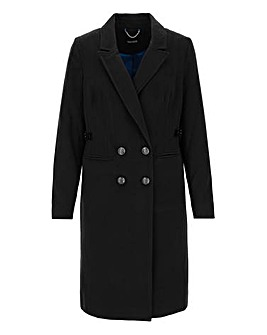 Black Smart Double Breasted Coat with Buckle Tab Waist Detail