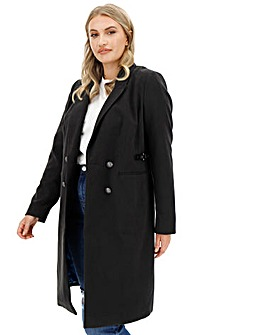 Black Buckle Detail Double Breasted Coat