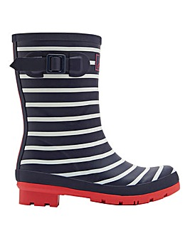Joules French Navy Stripe Molly Mid Wellie Boots Standard D Fit