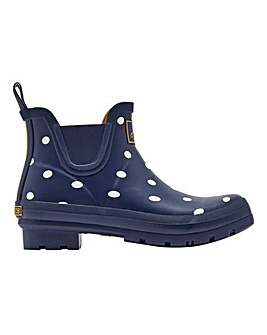 Joules French Navy Spot Short Wellie Boots Standard D Fit
