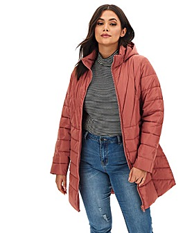 Dusky Pink Water Resistant Hooded Longline Padded Coat with Side Zips