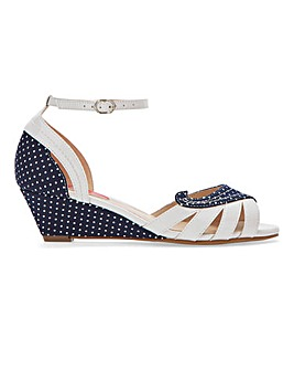 Joe Browns Polka Dot Ankle Strap Wedge Sandals Extra Wide EEE Fit