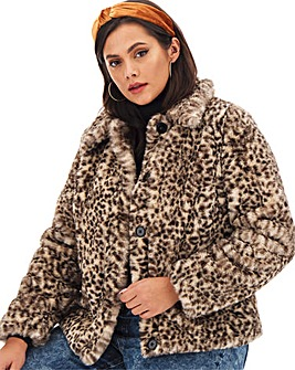 Leopard Print Short Fur Coat