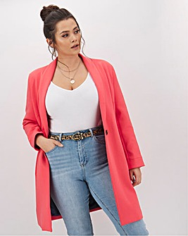 Oversized Coral Scuba Jersey Coat with Satin Lining