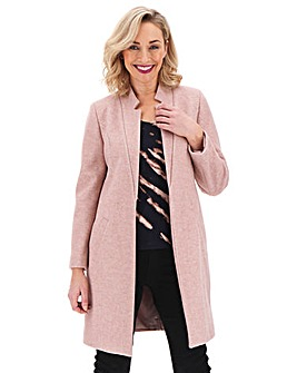 Blush Edge to Edge Notch Neck Coat