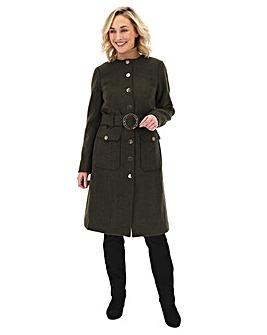 Khaki Longline Belted Utility Coat