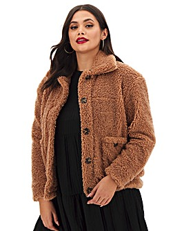 Rust Super Soft Teddy Fur Jacket