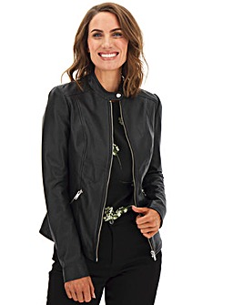 Collarless Leather Biker Jacket with Jersey Panel Sleeves