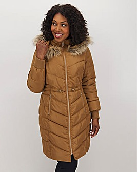 Camel Double Collar Longline Puffer Coat