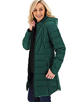 Forest Green Hooded Longline Padded Coat