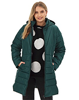Forest Green Water Resistant Hooded Longline Padded Coat with Side Zips